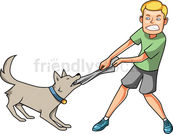 Man fighting with dog. PNG - JPG and vector EPS file formats (infinitely scalable). Image isolated on transparent background.
