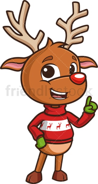 Reindeer pointing and talking. PNG - JPG and vector EPS (infinitely scalable).