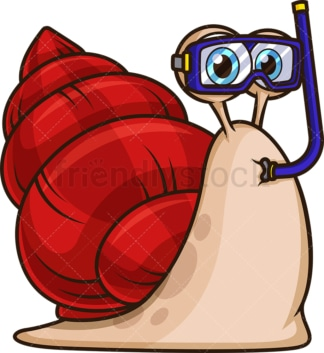 Sea snail with mask and snorkel. PNG - JPG and vector EPS file formats (infinitely scalable). Image isolated on transparent background.