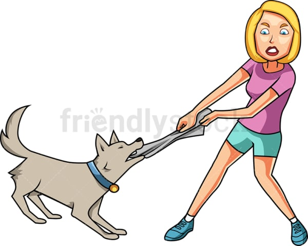 Woman fighting with dog. PNG - JPG and vector EPS file formats (infinitely scalable). Image isolated on transparent background.