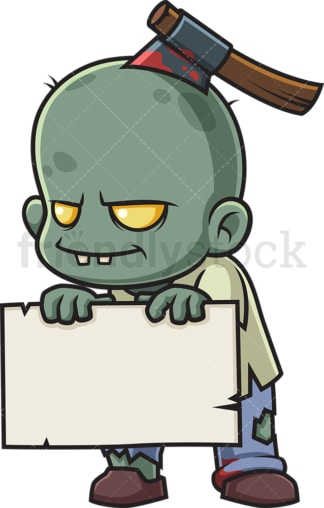 Zombie holding empty sign. PNG - JPG and vector EPS (infinitely scalable).