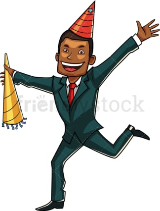 Celebrating black businessman. PNG - JPG and vector EPS file formats (infinitely scalable). Image isolated on transparent background.