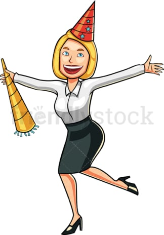 Celebrating blonde businesswoman. PNG - JPG and vector EPS file formats (infinitely scalable). Image isolated on transparent background.