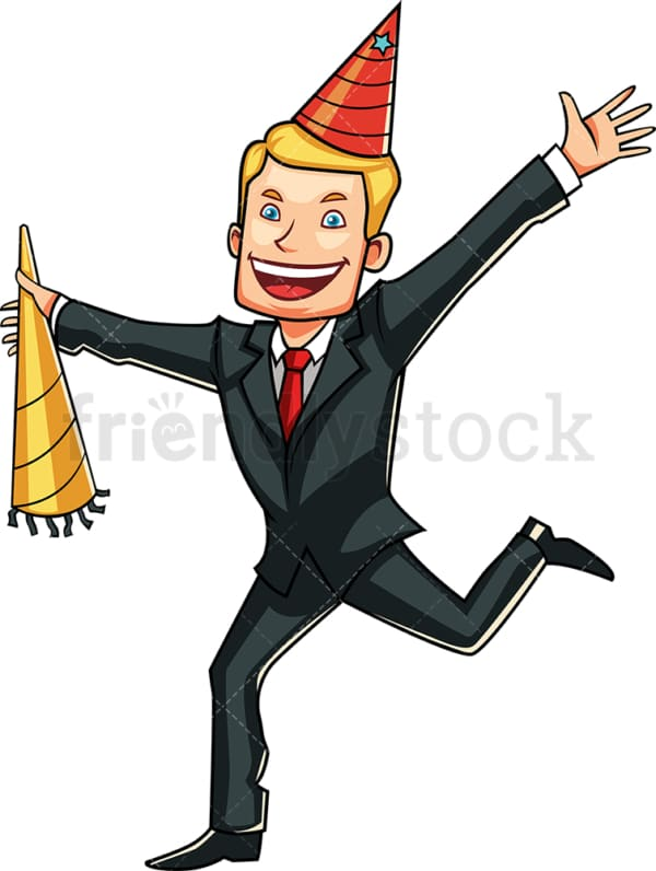 Celebrating young businessman. PNG - JPG and vector EPS file formats (infinitely scalable). Image isolated on transparent background.