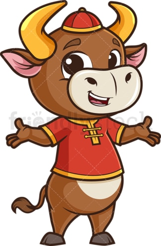 Chinese new year ox presenting. PNG - JPG and vector EPS (infinitely scalable).