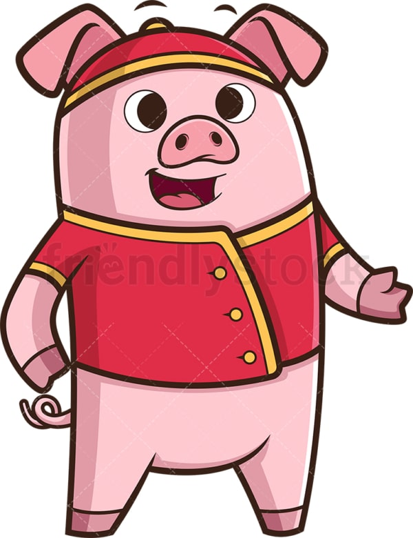 Chinese new year pig presenting. PNG - JPG and vector EPS (infinitely scalable).