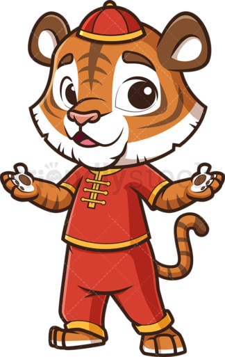 Chinese new year tiger presenting. PNG - JPG and vector EPS (infinitely scalable).