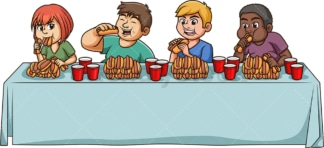 Hot dog eating contest. PNG - JPG and vector EPS file formats (infinitely scalable). Image isolated on transparent background.