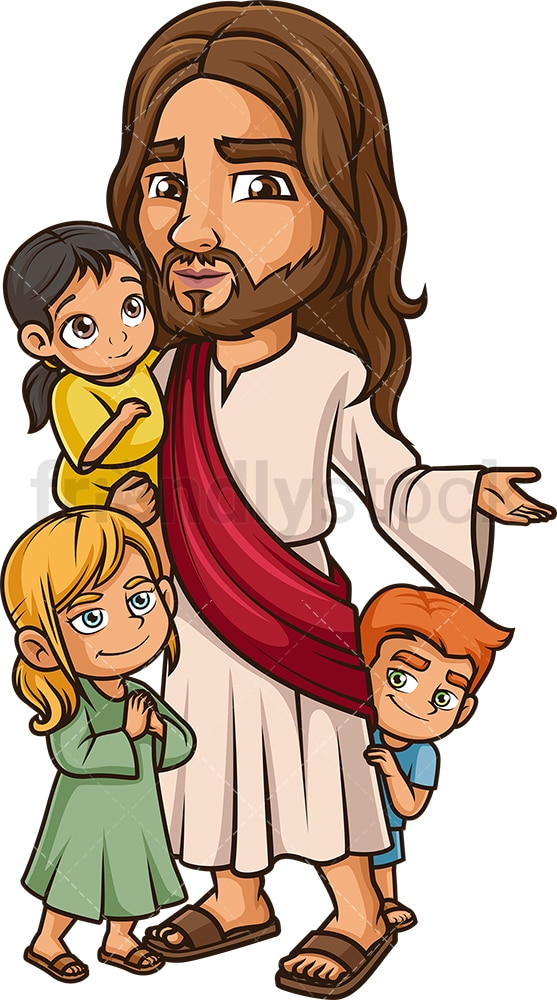 Jesus Christ with kids. PNG - JPG and vector EPS (infinitely scalable).