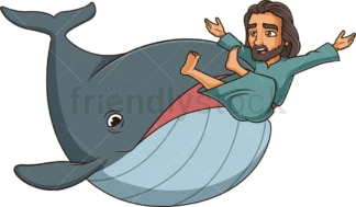 Jonah getting swallowed by whale. PNG - JPG and vector EPS (infinitely scalable).
