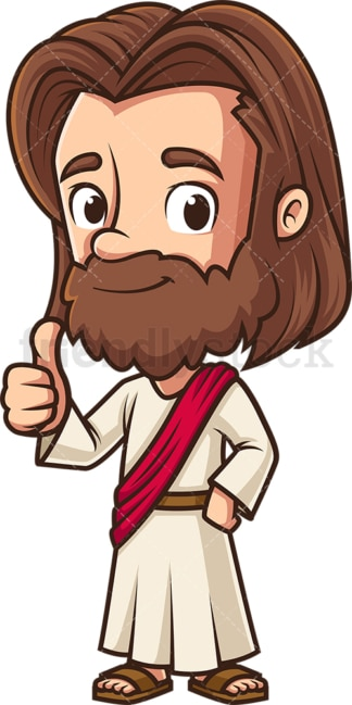 Kawaii jesus thumbs up. PNG - JPG and vector EPS (infinitely scalable).