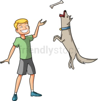 Man training his dog. PNG - JPG and vector EPS file formats (infinitely scalable). Image isolated on transparent background.