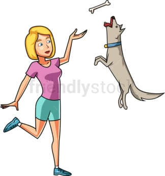 Woman training her dog. PNG - JPG and vector EPS file formats (infinitely scalable). Image isolated on transparent background.