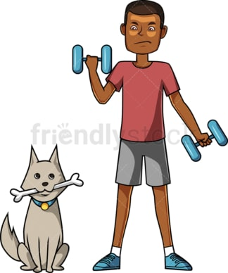 Black man working out as his dog sits. PNG - JPG and vector EPS file formats (infinitely scalable). Image isolated on transparent background.