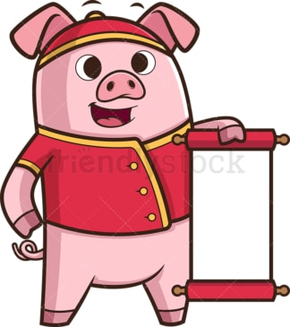 Chinese new year pig holding blank scroll. PNG - JPG and vector EPS (infinitely scalable).