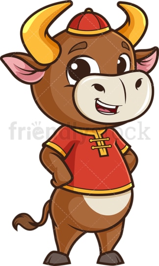 Cute chinese new year ox. PNG - JPG and vector EPS (infinitely scalable).