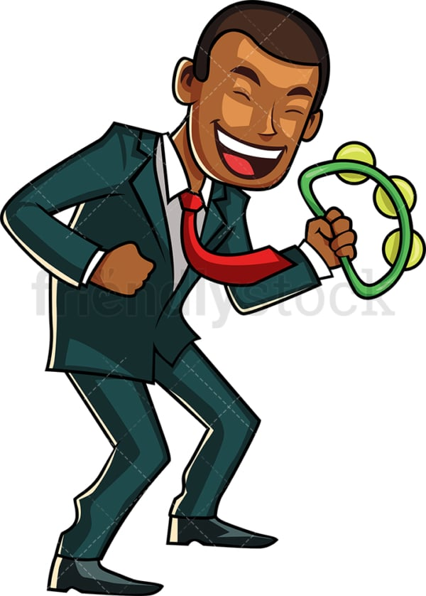 Dancing black businessman. PNG - JPG and vector EPS file formats (infinitely scalable). Image isolated on transparent background.