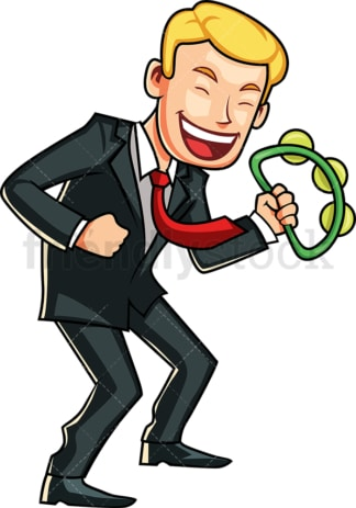Dancing businessman holding tambourine. PNG - JPG and vector EPS file formats (infinitely scalable). Image isolated on transparent background.