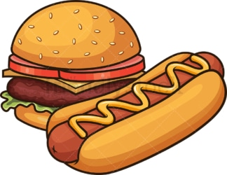 Hot dog and hamburger. PNG - JPG and vector EPS file formats (infinitely scalable). Image isolated on transparent background.