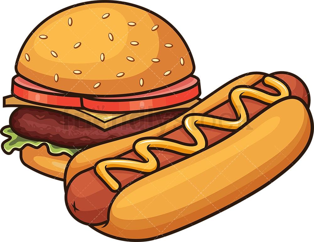Hot Dog And Hamburger Cartoon Vector Clipart - FriendlyStock