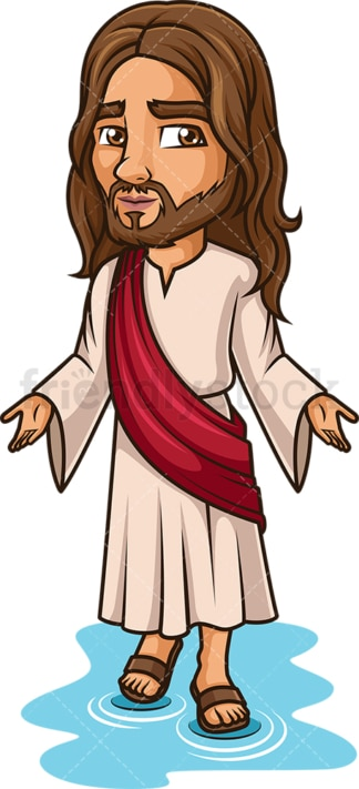Jesus Christ Walks On Water. PNG - JPG and vector EPS (infinitely scalable).