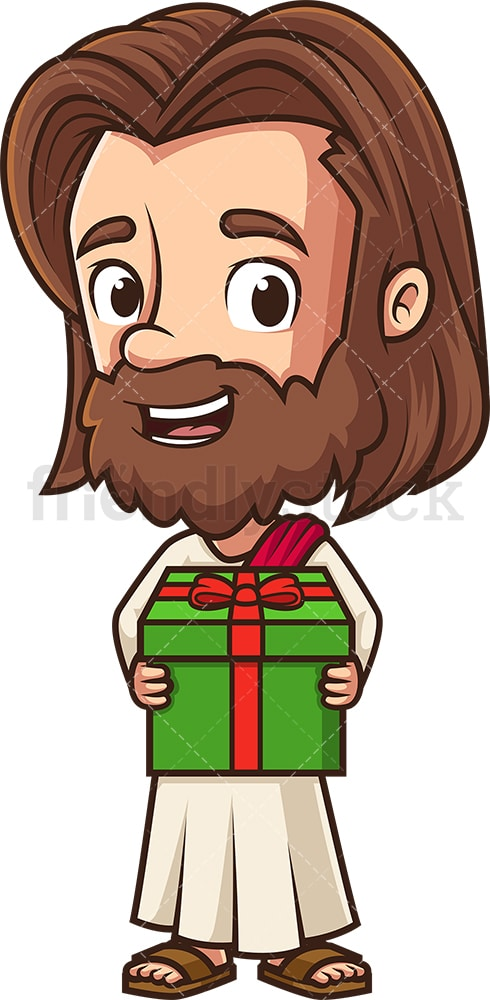 Kawaii jesus holding present. PNG - JPG and vector EPS (infinitely scalable).