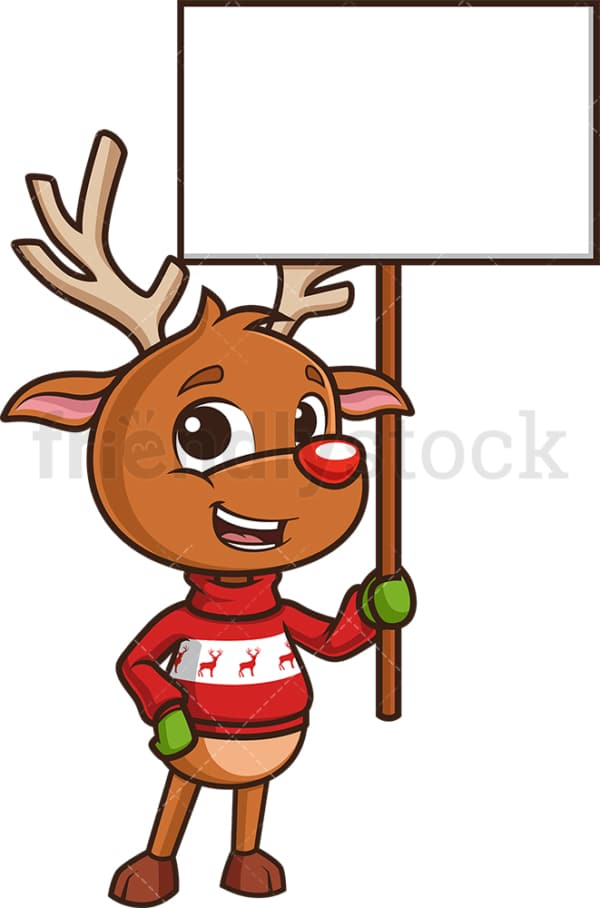 Reindeer holding blank sign. PNG - JPG and vector EPS (infinitely scalable).