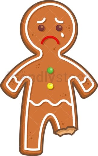 Sad gingerbread man. PNG - JPG and vector EPS (infinitely scalable).