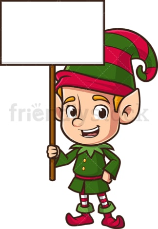 Santa's elf holding billboard sign. PNG - JPG and vector EPS (infinitely scalable).