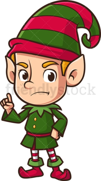 Angry christmas elf pointing. PNG - JPG and vector EPS (infinitely scalable).