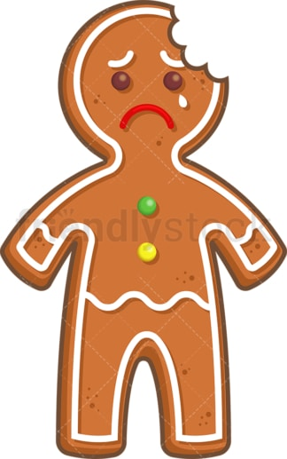 Bitten gingerbread man. PNG - JPG and vector EPS (infinitely scalable).