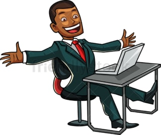 Black businessman on cloud nine. PNG - JPG and vector EPS file formats (infinitely scalable). Image isolated on transparent background.