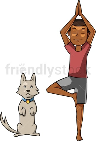 Black man doing yoga with puppy. PNG - JPG and vector EPS file formats (infinitely scalable). Image isolated on transparent background.