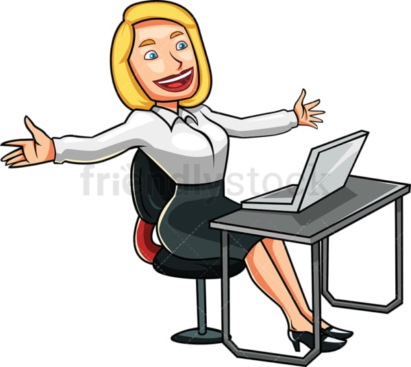 Happy blonde woman at work. PNG - JPG and vector EPS file formats (infinitely scalable). Image isolated on transparent background.