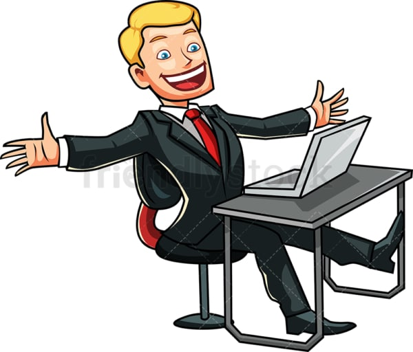 Happy man with laptop computer. PNG - JPG and vector EPS file formats (infinitely scalable). Image isolated on transparent background.