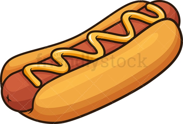 Hot dog with mustard. PNG - JPG and vector EPS file formats (infinitely scalable). Image isolated on transparent background.