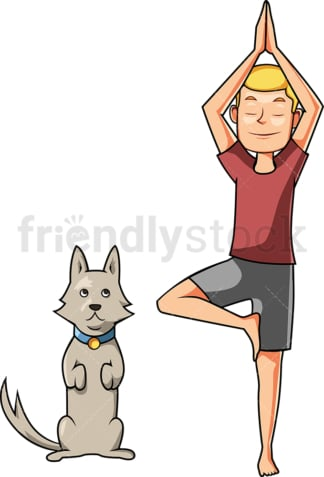 Man doing yoga with his dog. PNG - JPG and vector EPS file formats (infinitely scalable). Image isolated on transparent background.