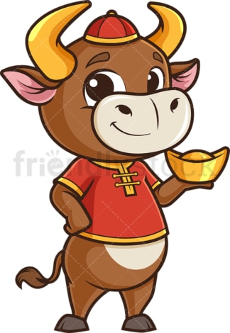 New year ox holding chinese gold ignot. PNG - JPG and vector EPS (infinitely scalable).
