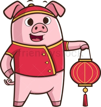 New year pig holding chinese lantern. PNG - JPG and vector EPS (infinitely scalable).