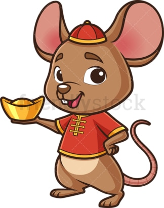 New year rat holding chinese gold ignot. PNG - JPG and vector EPS (infinitely scalable).