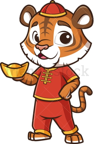 New year tiger holding chinese gold ignot. PNG - JPG and vector EPS (infinitely scalable).
