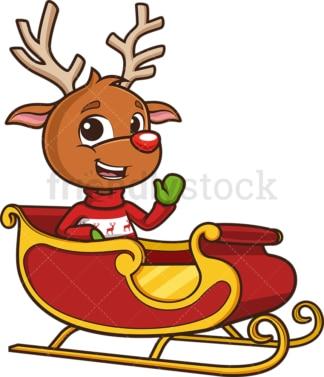 Reindeer in santa's sleigh. PNG - JPG and vector EPS (infinitely scalable).