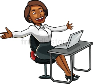 Triumphant black woman at work. PNG - JPG and vector EPS file formats (infinitely scalable). Image isolated on transparent background.