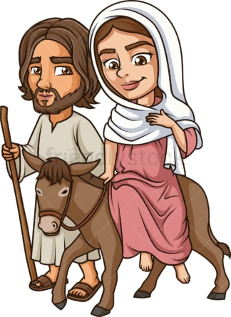 Virgin mary traveling with joseph. PNG - JPG and vector EPS (infinitely scalable).