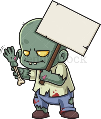 Zombie with billboard sign. PNG - JPG and vector EPS (infinitely scalable).