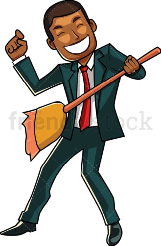 Black businessman playing broom guitar. PNG - JPG and vector EPS file formats (infinitely scalable). Image isolated on transparent background.