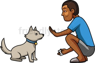 Black man training his dog. PNG - JPG and vector EPS file formats (infinitely scalable). Image isolated on transparent background.