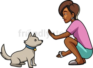 Black woman training her dog to sit. PNG - JPG and vector EPS file formats (infinitely scalable). Image isolated on transparent background.