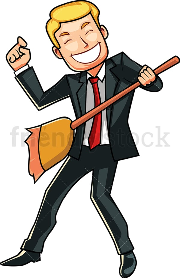 Businessman using broom as a guitar. PNG - JPG and vector EPS file formats (infinitely scalable). Image isolated on transparent background.