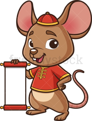 Chinese new year rat holding blank scroll. PNG - JPG and vector EPS (infinitely scalable).